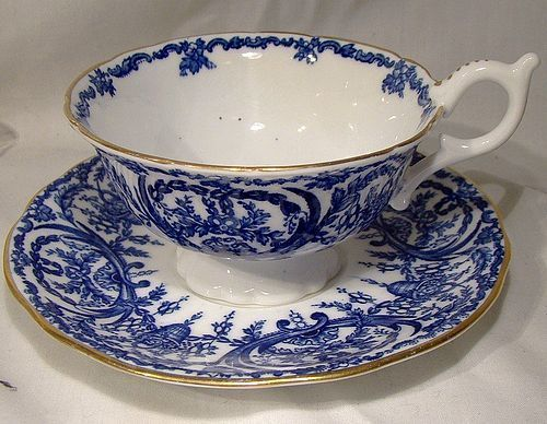 Coalport 5012/A Deep Blue and White Cup and Saucer 1910 1920