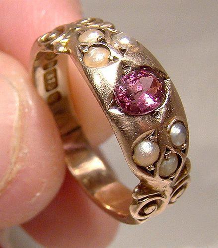 9K Edwardian Rhodolite Garnet & Seed Pearls Ring - Chester 1903