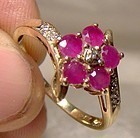 10K Rubies and Diamonds Flower Ring 1960s - Size 8