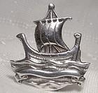 Thomas Kerr Ebbutt Galleon Sailing Ship Sterling Silver Pin Brooch