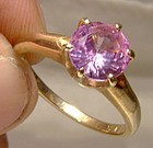 10K Pink Sapphire Solitaire Ring 1970s 10 K Size 6-1/2
