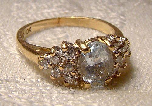 10K Blue Topaz White Quartz Ring 1980s 10 K Size 5