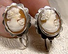 Pair Carved Shell Cameo 800 Silver Screwback Earrings 1940s