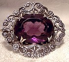 Scottish Sterling Silver Filigree Pin Brooch with Amethyst Crystal
