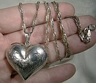 Sterling Silver Engraved Puffy Heart Pendant on Chain Necklace 1970s