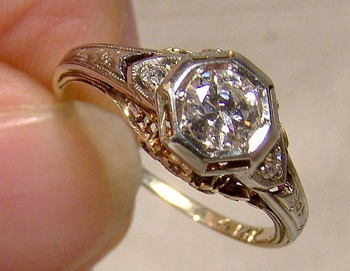 Art Deco 14K Diamond Filigree Ring 1915 1920 Size 6 with Appraisal