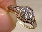 Art Deco 14K Diamond Filigree Ring 1915 1920 Size 6 with Appraisal