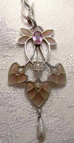 Pforsheim Germany Plique-a-Jour Enamel Arts and Crafts Necklace 1910