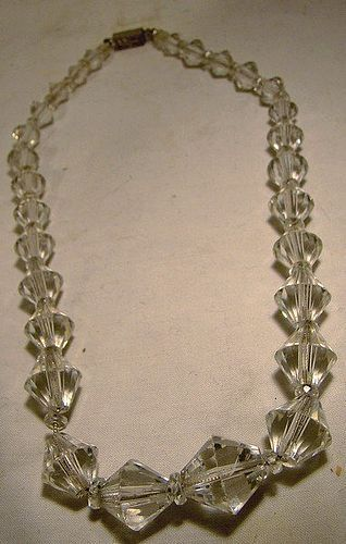 Art Deco Clear Crystal Graduated Bicone Bead Glass Choker Necklace