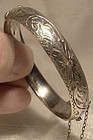 Child's Hand Engraved Sterling Silver Hinged Bangle Bracelet 1930s