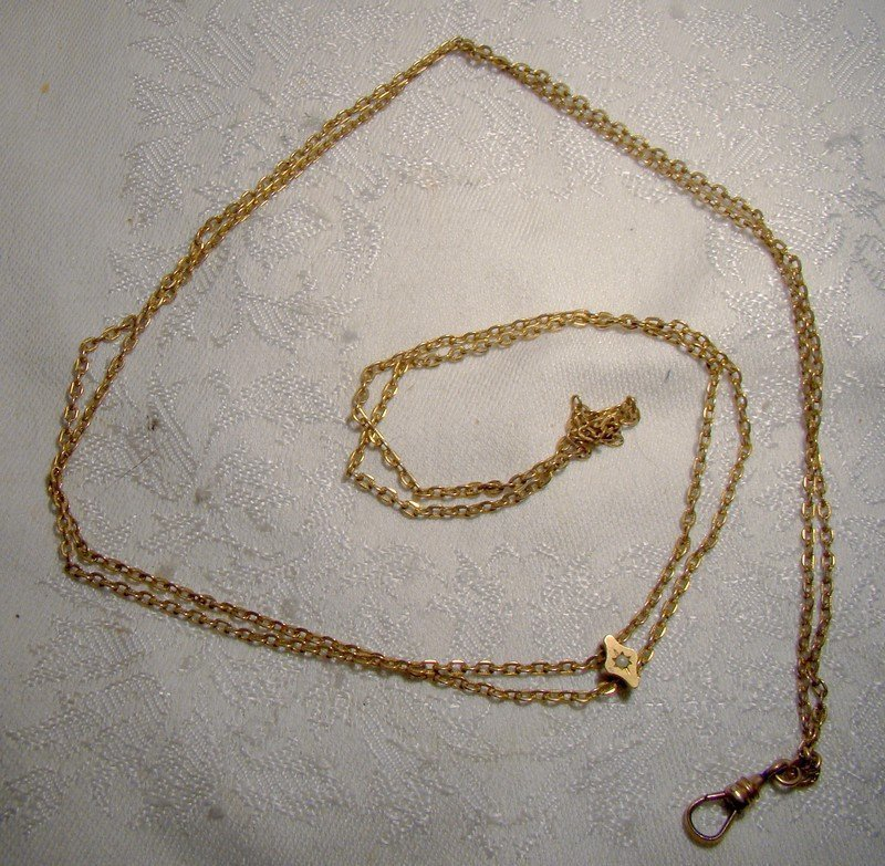 Edwardian Lady's Yellow Gold Filled Watch Chain with Opal Slide