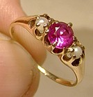 Edwardian 14K Synthetic Ruby and Pearls Ring 1900-10 Antique 14 K Ruby