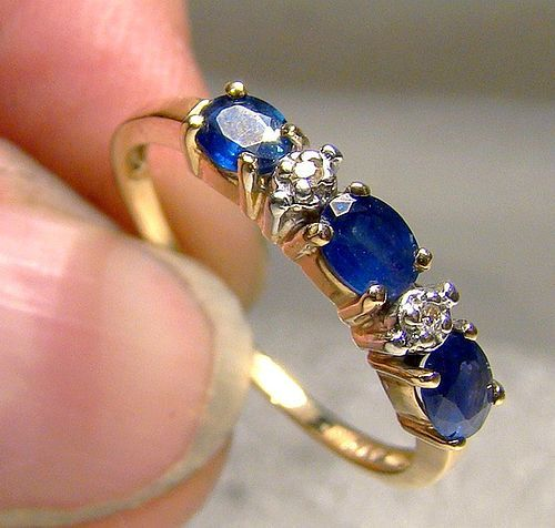 10K Sapphires and Diamonds Row Ring 1980s - Size 6-3/4