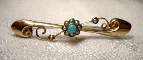 Edwardian 9K Yellow Gold Turquoise & Pearls Bar Tie Cravat Pin 1900