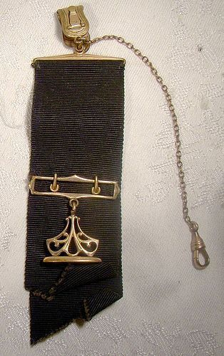 Victorian Gold Plated Seal Ribbon Pocket Watch Fob 1890s