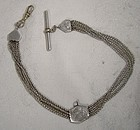 Victorian 3 Strand Alpaca Man's Pocket Watch Chain with Engraved Slide