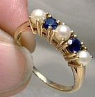 10K Sapphires and Pearls Row Ring 1960s - Size 8