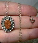 Goldstone Sterling Silver Pendant on Chain Necklace 1950s