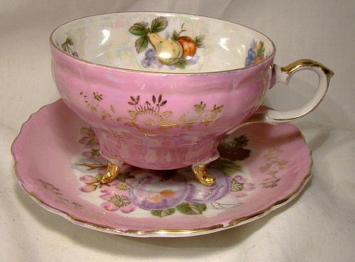 Japan 3 Footed Pink Lustre Fruit Cup and Saucer 1930s
