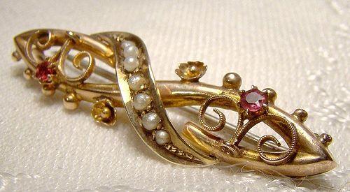 Edwardian 9K Rose Gold Almandine Garnets & Pearls Bar Tie Cravat Pin
