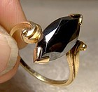 10K Black Alaskan Diamond Hematite Ring 1960s 10 K Size 8-1/2
