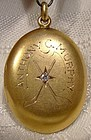 14K Ice Hockey Award Photo Locket Pendant with Diamond 1927 - Cayuga