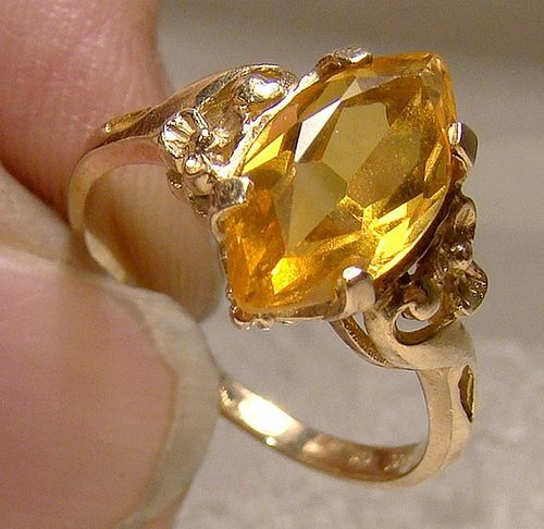 10K Golden Yellow Sapphire Ring 1940s 1950s Size 6
