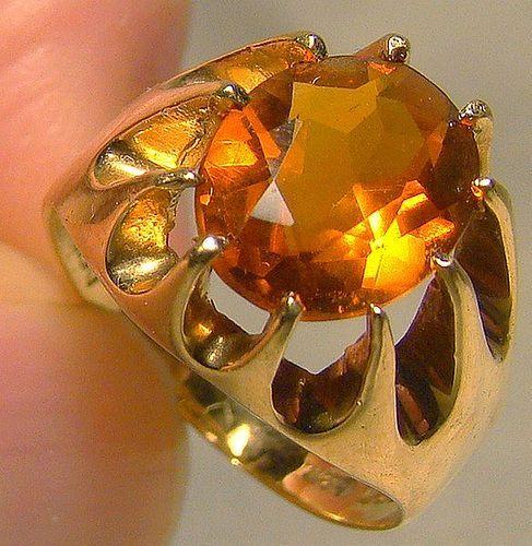 14K Denmark Citrine Ring 1950s - Size 5-1/2