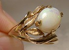 10K Natural Opal Leaf and Flower Gold Ring 1960s Size 6-1/4