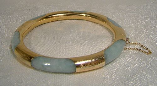 14K Jadite Jadeite Bangle Bracelet 1930s Vintage Natural Jade
