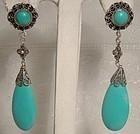 Silver Filigree Blue Turquoise Dangle Tear Drop Pierced Earrings