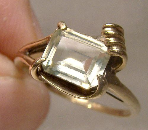 10K Yellow Spinel Gem Yellow Gold Ring 1950s Size 7-3/4 10 K Modernist