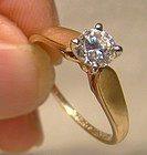 10-14K Yellow Gold CZ Solitaire Engagement Ring 1980s - Cubic Zirconia