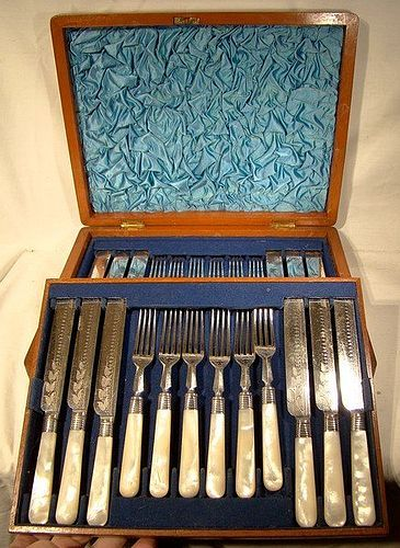 Mother of Pearl Silver Plated Fruit Set for 12 in Original Box 1900