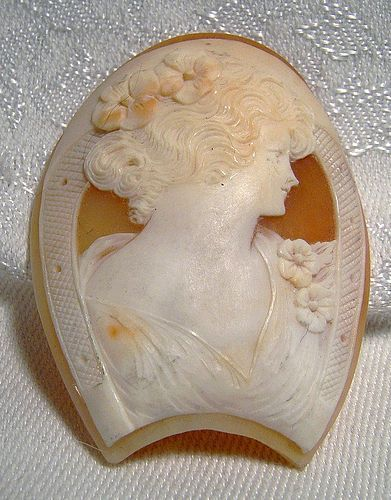 Large Horseshoe Shaped Shell Cameo - 1930s 1940s New Old Stock NOS