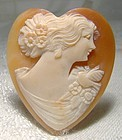 Heart Shaped Shell Cameo - 1930s 1940s New Old Stock NOS Unset