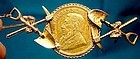 1894 South Africa 1/2 Kruger Pond 22K Gold Coin Mining Brooch Pin