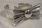 Ultramodern Bow Tie 925 Sterling Cuff Bangle Bracelet 1970s