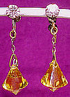 Vintage AMBER CRYSTAL RHINESTONE EARRINGS c1920