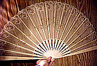 Ornate 19thC CARVED BONE, SILK, LACE & SEQUIN FAN