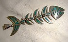 MEXICAN STERLING TURQUOISE ARTICULATED FISH PENDANT