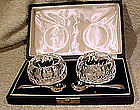 BOXED CUT CRYSTAL MASTER SALTS & SP SPOONS c1920s-30s