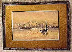 SAILBOAT & MOUNTAINS WATERCOLOUR L Livingston c1920s