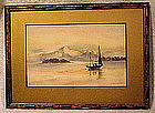 SAILBOAT & MOUNTAINS WATERCOLOUR L Livingston c1920s
