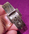 Vintage ENGRAVED STERLING BUCKLE BABY/CHILD BANGLE