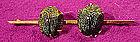 9K GOLD DOUBLE SCARAB BEETLE BROOCH c1870-90