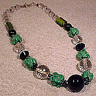 Czech STRIPED CRYSTAL & HANDBLOWN ROSES GLASS NECKLACE