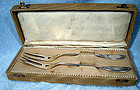 PR GERMAN 800 SILVER VIANDE SERVING FORKS Orig Box