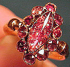 9K FOILED PASTE & ROSE TOURMALINE RING c1800