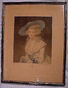 BARTOLOZZI HON. MISS BINGHAM STIPPLE ENGRAVING c1786